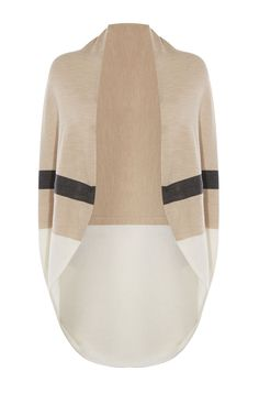 Karen Millen, DRAPED STRIPE CARDIGAN Neutral