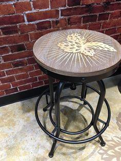 Laser engraved bar stool #LaserEngraving #BarStool #MadeInCanada Outdoor Tables, Outdoor Decor, Laser Engraving, Bar Stools, Printer, 3d Printing, Outdoor Furniture, House, Home Decor