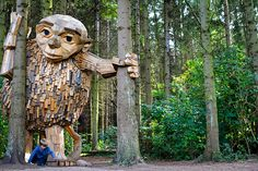 each sculpture has been carefully crafted from recycled scrap wood, and has been built alongside the help of local volunteers.