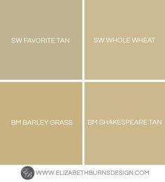 Elizabeth Burns Design | Favorite Gold Paint Colors: Sherwin Williams Favorite Tan, Sherwin Williams Whole Wheat, Benjamin Moore Barley Grass, Benjamin Moore Shakespeare Tan