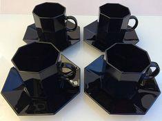 Arcoroc Octime French black glass cup & saucer set of 4 Darkest Black Color, Cup And Saucer Set, Black Glass, I Shop, Art Deco, French, Tea, Pattern, Vintage