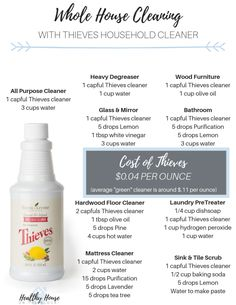 Thieves Cleaning Recipes: This Household Concentrated Cleaner is less expensive than store bought and it's a completely plant based cleaner. This is my absolute favorite [. Young Living Oils, Young Living Essential Oils, Essential Oil Blends, Thieves Essential Oil, Young Living Thieves, Thieves Household Cleaner, Thieves Cleaner, Diy Cleaning Products, Cleaning Hacks