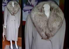 Amazing Vintage Pale Gray Wool Winter Coat Huge Silver Tipped Arctic Fox Shawl Collar by WestCoastVintageRSL, $268.00