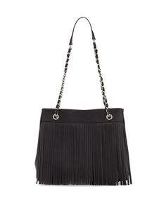 Jayme Fringe Leather Tote Bag, Black