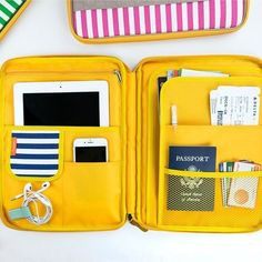 MochiThings Leather Diary, Leather Pouch, Organizer Auto, Laptop Pouch, Organize Fabric, Yellow Interior, Pouch Pattern, Planner Supplies, Stationery Items
