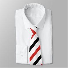 Red white black stripe pattern tie - stripes gifts cyo unique style