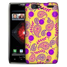 Motorola Droid Razr Maxx Paisley Flowers Pink Blue on Yellow Slim Case
