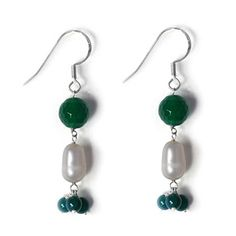 Enhanced Green Agate (Rnd), Fresh Water Pearl Fish Hook Earrings in Sterling Silver 10.780 Ct.