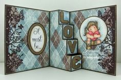 inside view of handmade card from From My Craft Room ... four step pop-up format with LOVE on the risers ... awesome ...