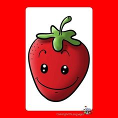 """Have fun with our """"colours"""" Flashcards using the question """"What colour is ...?""""  What colour is the strawberry?  #flashcards #strawberry #red http://ift.tt/2ysrxjj"""