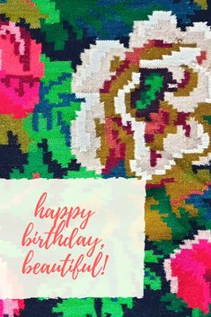 Happy birthday postcard with floral background, a piece of a Romanian wool handwoven rug. Good vibes, birthday wishes Happy Birthday Beautiful, Birthday Postcards, Good Vibes Only, Birthday Wishes, Hand Weaving, Wool, Rugs, Floral, Farmhouse Rugs