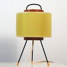 MID CENTURY Modern TRIPOD DANISH TEAK U0026 PLEATED PLASTIC TABLE LAMP 1950s