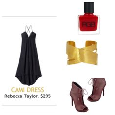 Mid Summer Party Outfit - Rebecca Taylor Dress, 9 West booties, gold cuff, red polish