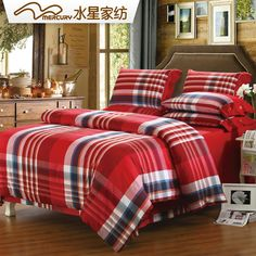 Free Shipping!Mercury Home Textile 100% Cotton Yarn-Dyed Flannel Bedding Set With 4pcs Duvet Cover Bed Sheet Eagar