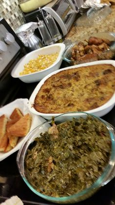 Collard greens, chicken dressing, pigfeets,mac and cheese and cornbread. SUNDAY Dinner.