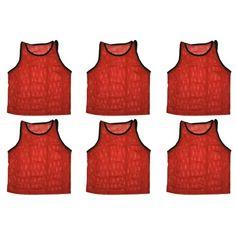 2c4997b52 Set Of 6 ~ Scrimmage Vests Vests Pinnies Soccer ~ Adult Red
