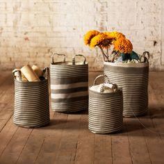 Laundry baskets?  Striped Storage Baskets - Set of 4 $66.99| dotandbo.com