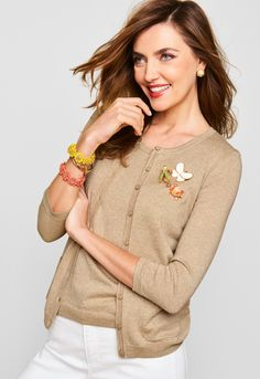 A Talbots favorite, our Charming Cardigan continues for spring in a new metallic color. Consider this an essential layering piece to pair with our Charming Shell.