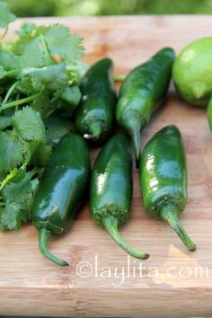 Jalapeños, cilantro, limes and garlic for salsa o aji