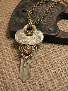 """Skeleton Key Jewelry - Upcycled Uncut New Old Stock """"Corbin"""" brand Vintage Door Key Steampunk Styled Necklace"""