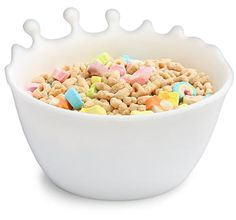 The spilled milk bowl. Made of silicone- for every all hours cereal eater. Ice Cream Bowl, Cereal Bowls, Dog Food Recipes, Creative, Decorative Bowls, Dishes, Sweet, Home Decor, Fun Stuff