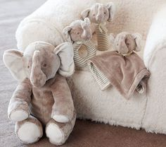 Cute plush in the crib add to theme and are super soft for baby to snuggle with eventually! #pottery barn kids