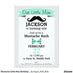 Mustache Little Man Birthday Party Invitation