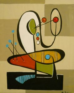 Original Abstract Andree Lyddon Atomic Mid Century Modern Retro Eames | eBay