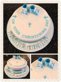 Baby converse christening cake