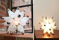 These unique lighting fixtures reuse old dead light bulbs to create dramatic sculptural lamps. Bulbs unlimited sells kits that let you create fixtures like the one pictured here from your own recycled bulbs!