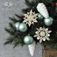 ガラスホワイトパインコーンオーナメント|クリスマス雑貨の通販【マテリ】 |