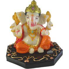 Sitting Chaturbhuj Mukut Ganesh / Ganesha / Ganpati Statue Marble Finish