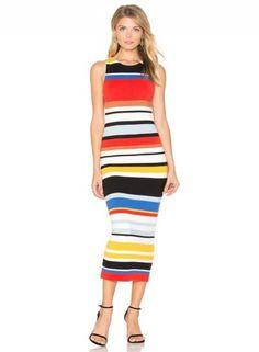#Oasap.com - #Roawe Women's Rainbow Stripped Print Bodycon Dress - AdoreWe.com