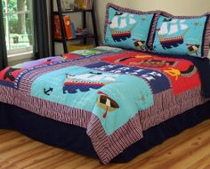 Boys Kids Pirate SHIP Treasure Twin Quilt Sham Bedding Set New | eBay