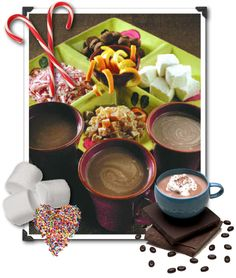 Hot Cocoa Bar with a whole range of toppings and add-ins to warm everyone up?    Here are some ideas for fun items to add to your hot cocoa bar display:    Mini-marshmallows  Rock candy  Cinnamon  Whipped cream (flavored with a little vanilla or chocolate)  Chopped chocolate or heath bars  Chopped thin mint chocolates, like Andes  Peppermint sticks  Chocolate syrup  Ice cream  Caramel or butterscotch drizzle  Chocolate sprinkles  Cinnamon sticks