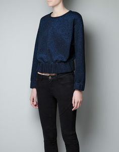 METALLIC TOP WITH ELASTIC WAIST - Shirts - Woman - New collection - ZARA