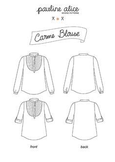 patrón de costura blusa carme con canesú delantero, pliegues, mangas largas y cuello.