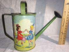 ANTIQUE TIN LITHO SAND BOX TOY WATERING SPRINKLING CAN EMBOSSED CHILDREN GERMANY