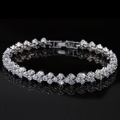 Fashion Women Roman Chain Clear Zircon Crystal Bangle Rhinestone Bracelet Gift for sale online Diamond Bracelets, Diamond Jewelry, Bangle Bracelets, Bangles, Modern Jewelry, Wedding Jewelry, Jewelry Design, Bling, White Gold