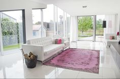Pink carpet in modern interior  #Pink #vintage rug