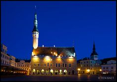 Raekoja Plats (Town Hall Square) - Tallinn, Estonia  * The heart of Tallinn is the Raekoja Plats, a magnificent square surmounted by the spire of the city's 14th-century town hall, one of Europe's oldest.  Estonia is the most Scandinavian of the Baltic nations, and is linked to Finland via frequent ferries.