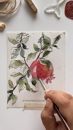 Watercolor Flowers Tutorial, Watercolor And Ink, Watercolor Illustration, Watercolor Paintings For Beginners, Flower Art, Pomegranate Drawing, Sketchbook Pages, King, Sketch Drawing
