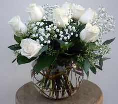 White Roses in a Fish Bowl - Classic! Four Seasons Flowers