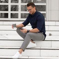 Men's Navy Long Sleeve Shirt, Grey Wool Dress Pants, White Low Top Sneakers, Dark Brown Watch