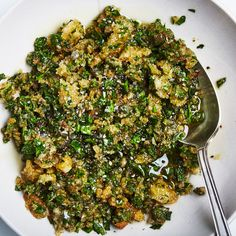 Other tender herbs such as cilantro, dill, and/or tarragon can be used instead for this salsa verde recipe. Though the breadcrumbs don't stay crisp, they give body and subtle crunch to the sauce.