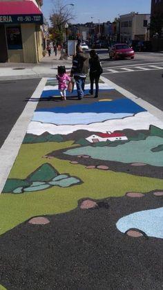 crosswalk art - promoting walkable urbanism