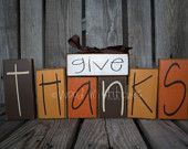 Give Thanks wood block primitive set . . .  fall autumn thanksgiving seasonal decor wood block set