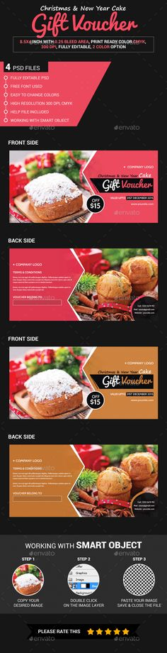 Christmas & New Year Cake Gift Voucher Template PSD #design Download: http://graphicriver.net/item/christmas-new-year-cake-gift-voucher/13971374?ref=ksioks