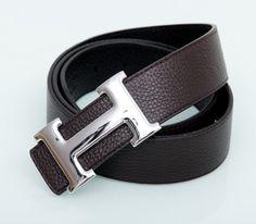 Мужской ремень Hermes из натуральной кожи широкий. Двухсторонний черный + коричневый. Серебряная пряжка