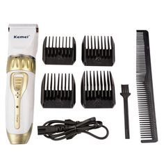 Rechargeable Men's Electric Adjustable Hair Clipper Trimmer with 5 Combs Set…